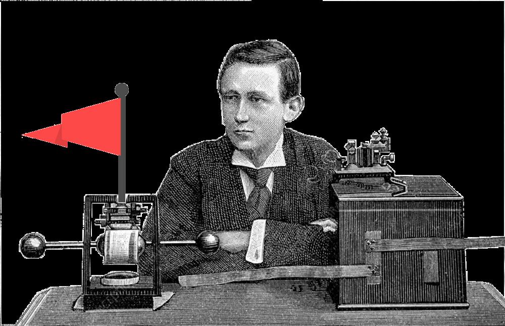 Un grabado de Marconi con algunos equipos radio, y una bandera roja claramente superpuesta.