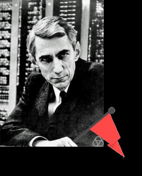 Claude Shannon sostiene una bandera roja claramente superpuesta en la foto.